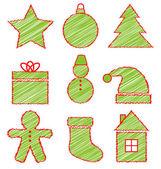 Set of Christmas icons on white  — Stockvector