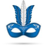 Blue mask with feathers — Vector de stock