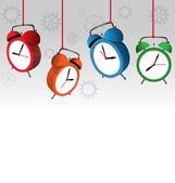 alarm clocks on gray  — Stock vektor