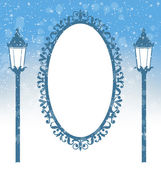 Two winter lampposts and frame in snowfall on light blue — Stock Vector