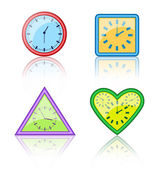 Bright multicolored different forms of clocks with reflection on — Vecteur