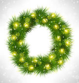 Christmas wreath with yellow glassy led Christmas lights garland — Stock Vector