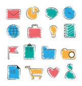Set of business office flat hand-drawn icons isolated on white — Stock Vector