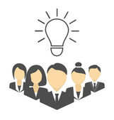 Flat portraits of staff with idea lamp isolated on white  — Stock Vector