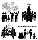 Set of Christmas flat icons isolated on white — Stock Vector