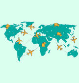 World map with air planes and trucks isolated on blue  — Vettoriale Stock