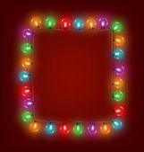 Multicolored glassy led Christmas lights garland like frame on r — Stock Vector