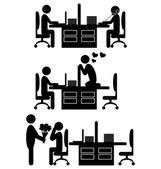 Flat valentine day office icons isolated on white — Stock Vector