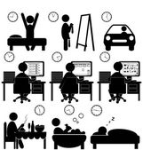 Set of flat situation icons with lazy worker isolated on white  — Stock Vector