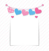 Paper frame with stitched hearts buntings garlands  — Stockvector