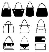 Set of flat woman bags isolated on white — Stock Vector