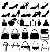 Set of flat woman accessories isolated on white — Stock Vector