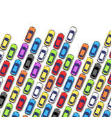 Atasco en la carretera con los coches aislados en blanco — Vector de stock