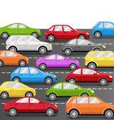 Autos auf der Straße. Transport-Hintergrund — Stockvektor