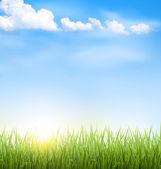 Bulutlar ve mavi gökyüzü güneş çim çim — Stok Vektör