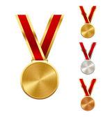 Argent or et Bronze médailles gagnants Festive isolés Pentecôte — Vecteur