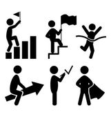 Success People Flat Icons Pictogram Isolated on White — Stock Vector