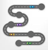 Road Infographic reizen achtergrond met auto 's — Stockvector