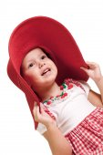 Little girl in a red hat portrait. Isolated on white — Stock Photo