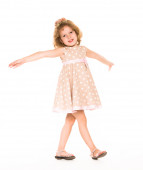 Little four year old girl happy. white background — Стоковое фото