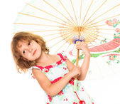 Little four year old girl happy. white background — 图库照片