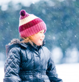 Winter Portrait of Laughing Little Girl — Stock Photo