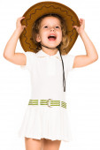 Little four year old girl happy. white background — Stock Photo