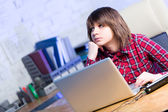 Teenager girl with laptop — Stock Photo