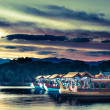 Traditional boats is a lakeside pavilion on the grounds of the Summer Palace in Beijing, China — Stock Photo #56971557