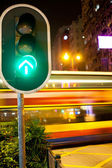 Red traffic signal at night in the streets of Hong Kong — Stock Photo