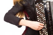 Musician playing accordion, isolated on white — Stock Photo