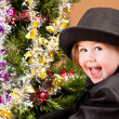 Little Boy Decorating Christmas Tree — Stock Photo #57339225