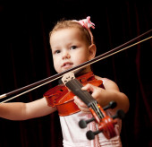Child with violin — Stock fotografie
