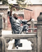 Shaolin warriors monk in traditional kimono — Stock Photo