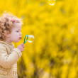 Cute girl with bubbles in the park — Stock Photo #57601415