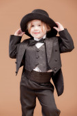 Cute little businessman with hat — Stock Photo