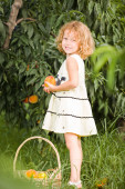 Portrait of beautifu young girl holding a basket fruit — Stock Photo