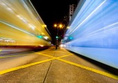 Blurred motion traffic in Hong Kong city at night — Stock Photo