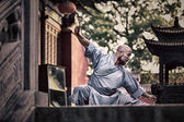 Shaolin warriors monk in traditional kimono — Stock Photo