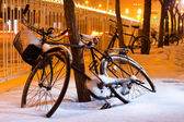 Bicycles in the snow — Stock Photo