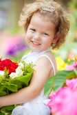 Portrait of a girl with flowers — Stock Photo