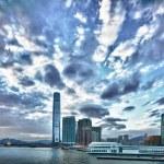 Hong Kong at night view from Hong Kong island side to Kowloon — Stock Photo #59208483