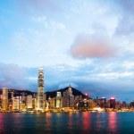 Hong Kong at night view from Kowloon side to Hong Kong island — Stock Photo #59728683