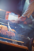 Kebabs on barbecue. shallow dof and vibrant colors — Stock Photo