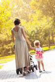 Mom and daughter walk in the rays of the autumn sun — Stock Photo