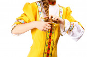 Young girl in a traditional Russian dress — Stock Photo