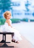 Little girl in wedding dress — Stock Photo