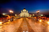 Orthodox Cathedral of Christ Savior at night — Stockfoto