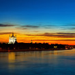 View of Neva river and Smolny Cathedral at sunset in St.Petersburg, Russia — Stockfoto #68125631