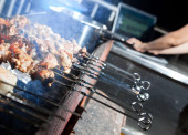Kebabs on barbecue — Stock Photo